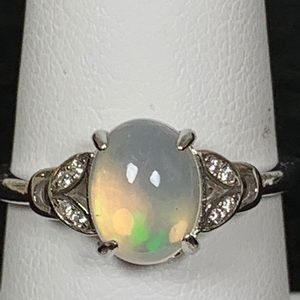 Jewelry - Natural Fire Opal Ring With Cz in Sterling Silver